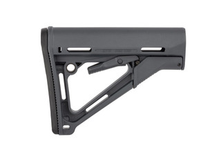 Magpul CTR carbine stock for MIL-SPEC buffer tubes features a wobble-stopping friction lock, multiple sling attachment points, and a grey finish