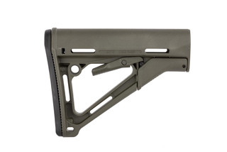 Magpul CTR carbine stock for MIL-SPEC buffer tubes features a wobble-stopping friction lock, multiple sling attachment points, and an ODG finish