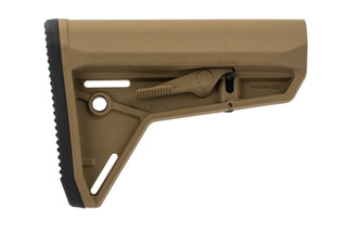 Magpul MOE Slim Line carbine stock in Flat Dark Earth for MIL-SPEC buffer tubes.