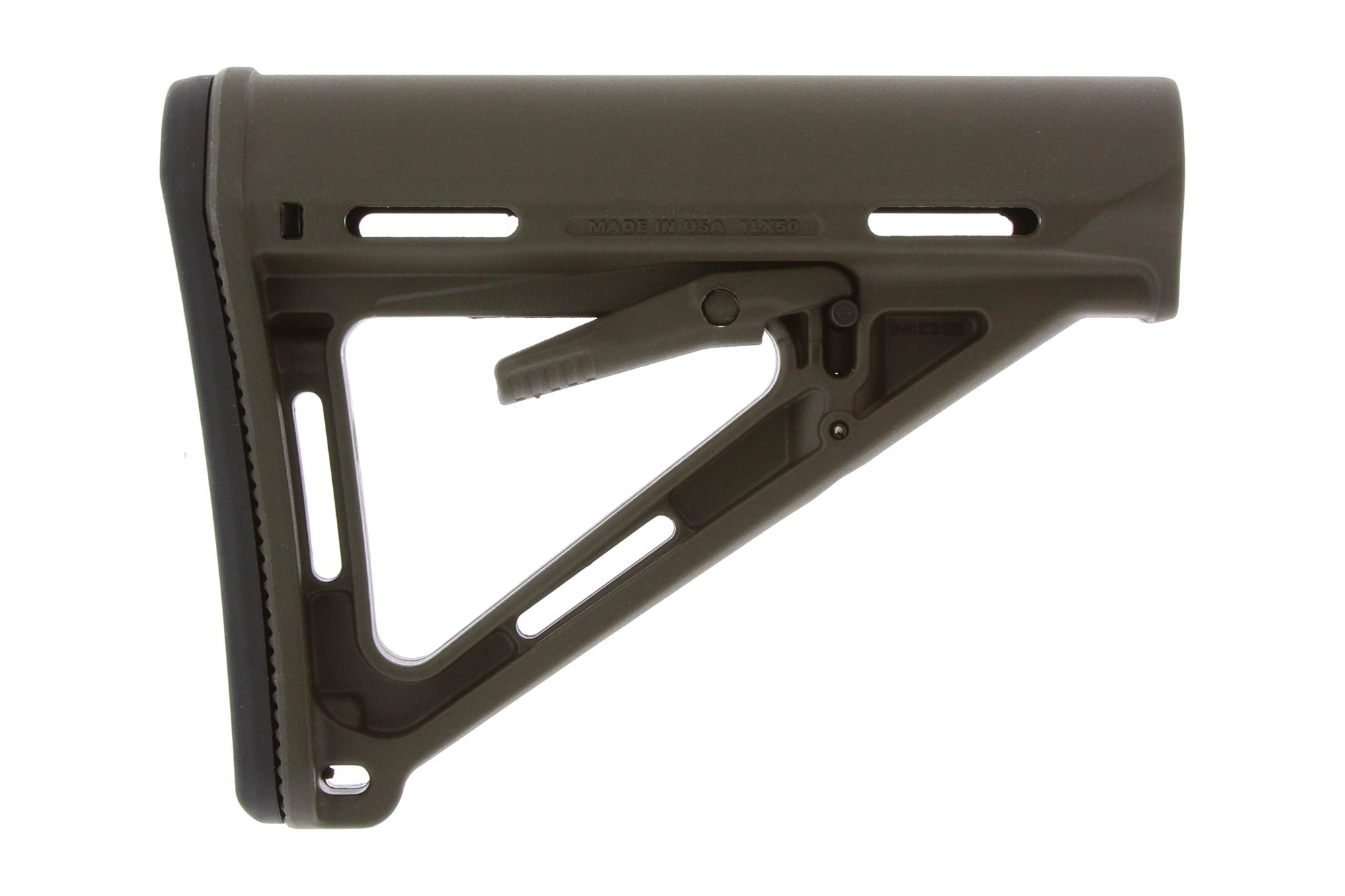 The Magpul OD Green MOE Carbine Stock features a removable rubber buttpad