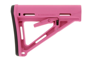 The Magpul Pink MOE Carbine AR15 Stock features a shielded adjustment lever