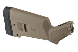 The Magpul SGA Stock features a flat dark earth polymer and is designed for Mossberg 500 shotguns