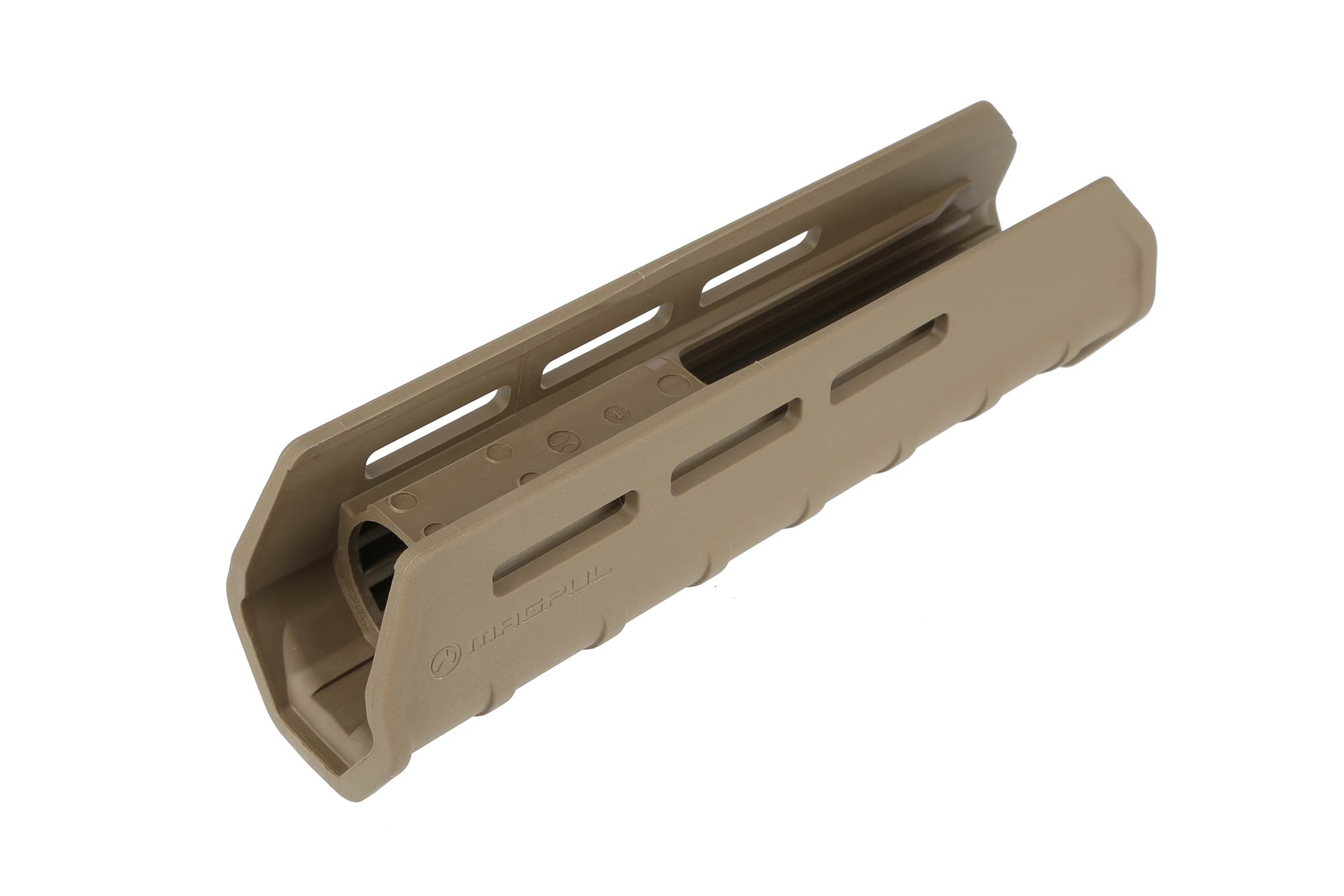 The Mossberg 590 Magpul Forend FDE features M-LOK attachment slots