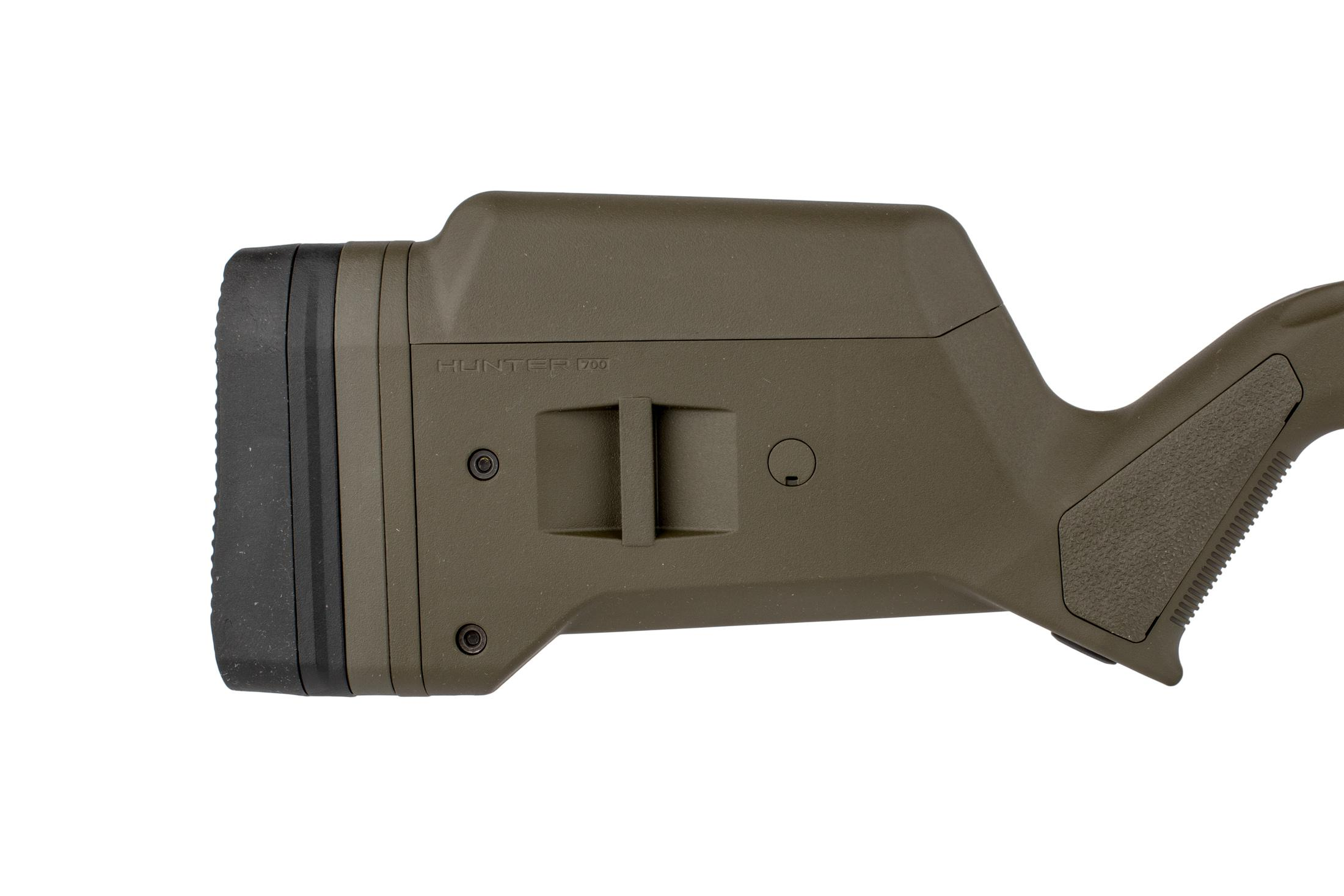 Magpul olive drab green Hunter 700L stock offers adjustable length of pull and cheek reisers for an optimal fit