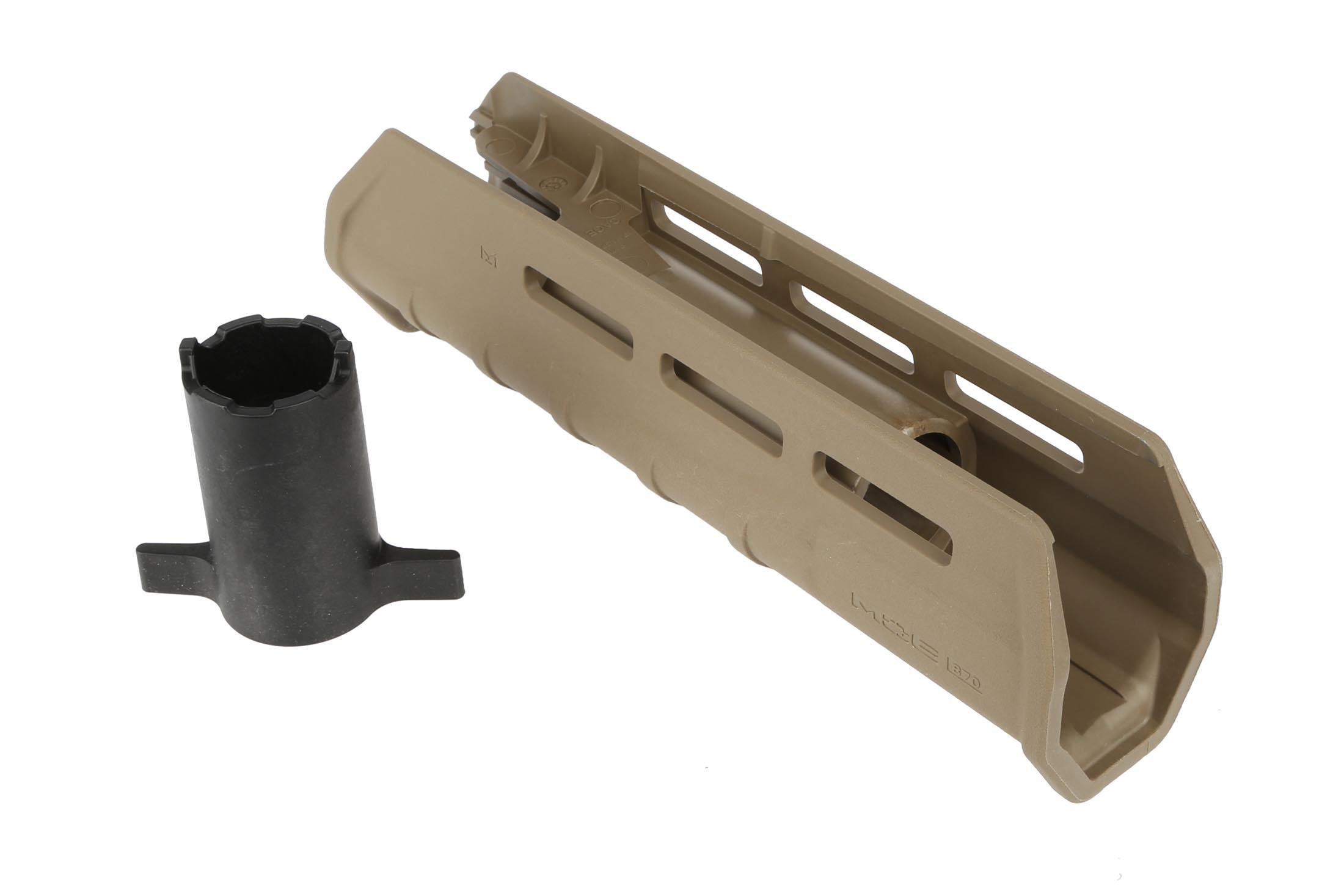 The pump action remington 870 is easily upgraded with the magpul moe forend stock