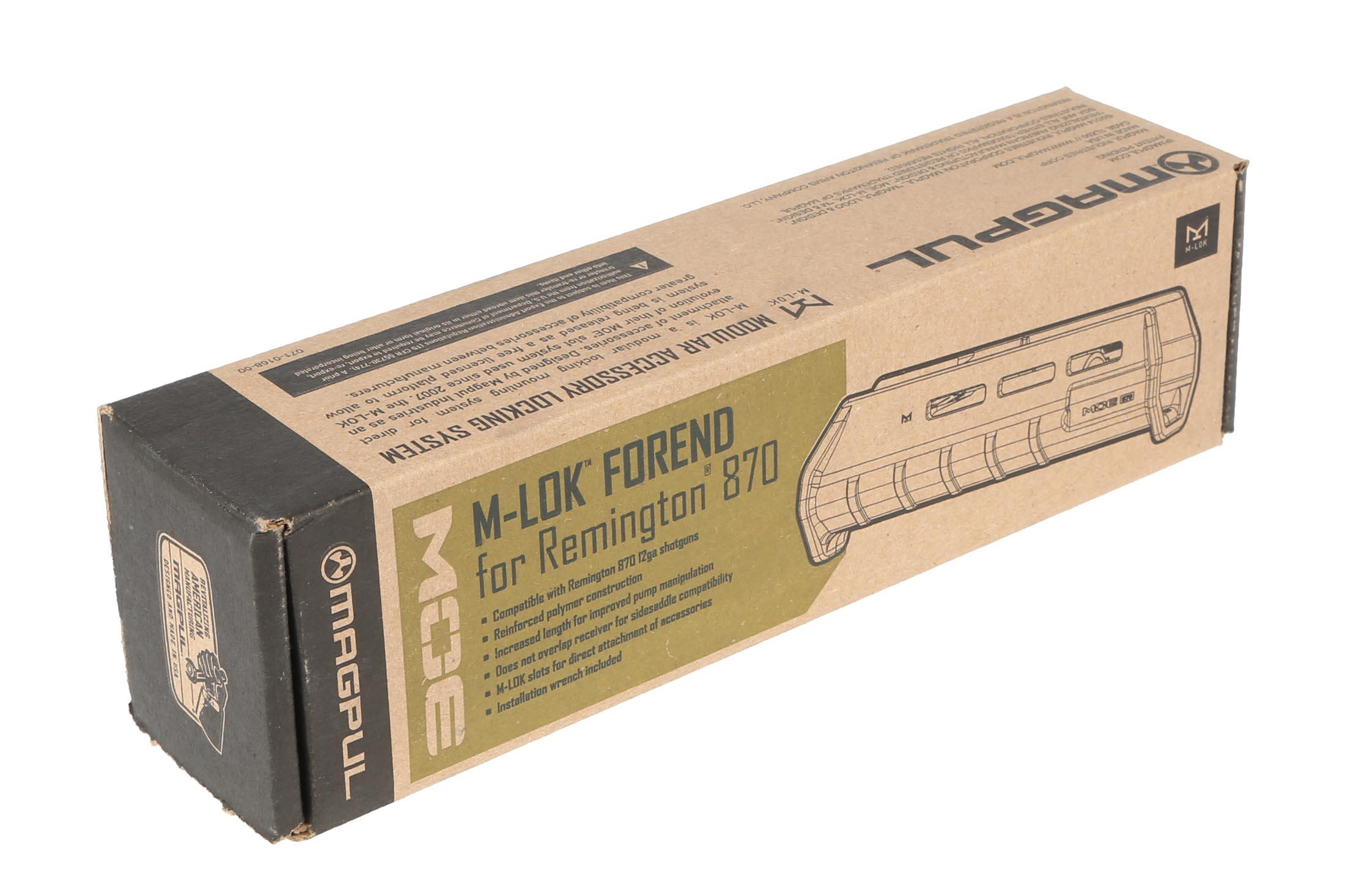 The magpul m-lok stock for remington 870 pump action 12 gauge shotgun comes in a cardboard box