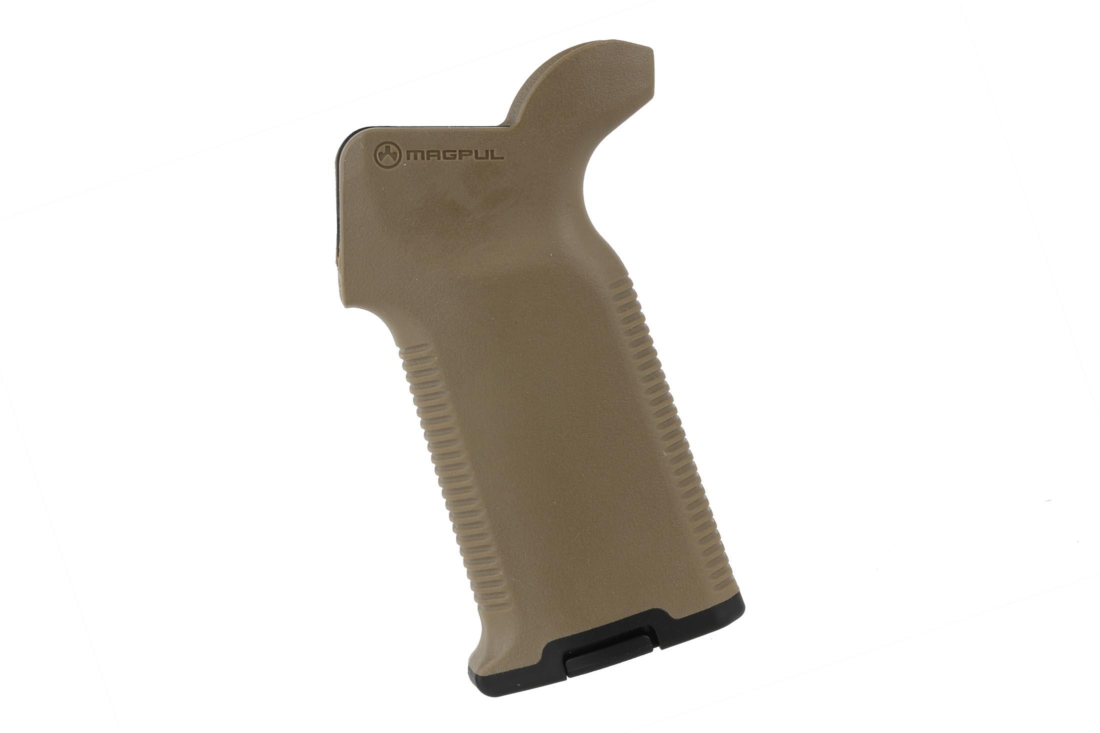 The Magpul MOE K2+ FDE ar15 pistol grip features a storage container for holding batteries or oil