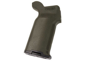 The Magpul MOE K2 Plus OD Green pistol grip features a rubber overmolded texture
