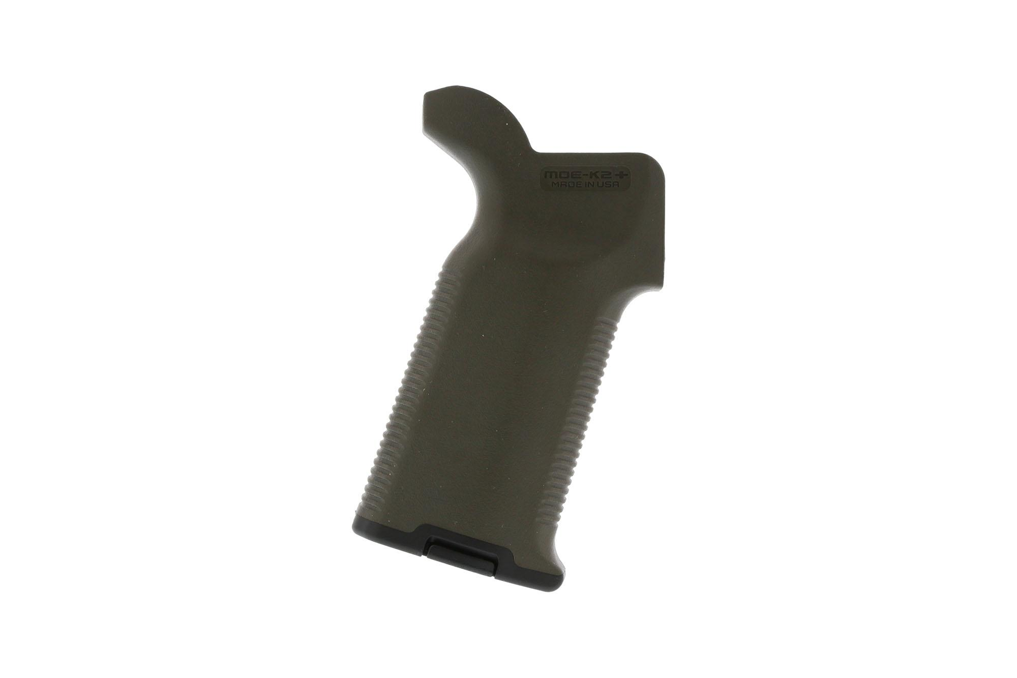 The Magpul MOE K2+ pistol grip Olive Drab Green features a high beavertail