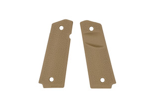 Magpul MOE 1911 TSP grip panels are diamond shaped and aggressively textured for enhanced control. Flat dark earth version.