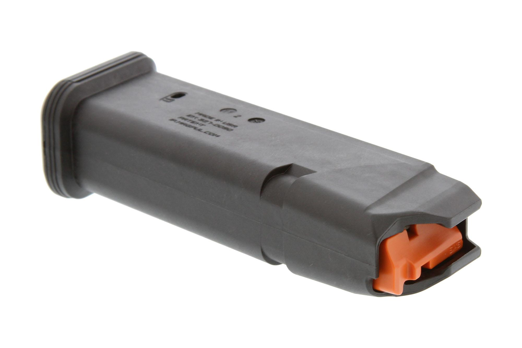 The Magpul GL9 Glock G17 Magazine has a high visibility orange follower
