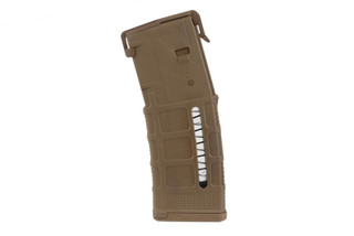The Magpul PMAG 30 Gen M3 windowed holds 30 rounds of 5.56 ammunition and features a coyote tan color