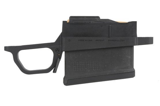 The Magpul Industries 700 long action magazine well features an ambidextrous release lever