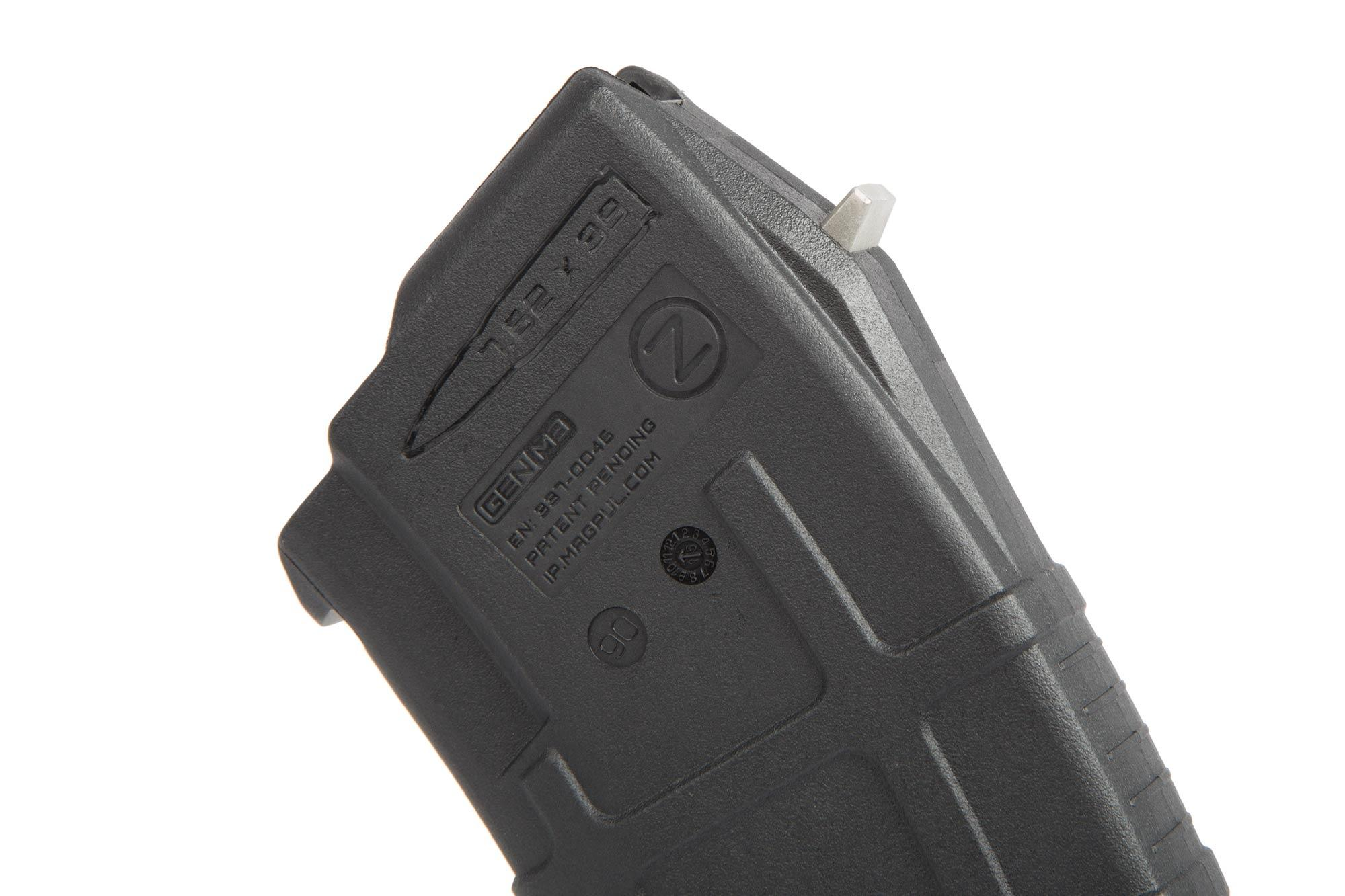 The Magpul PMAG AK Magazine holds 30 rounds of 7.62x39 ammunition in a polymer body