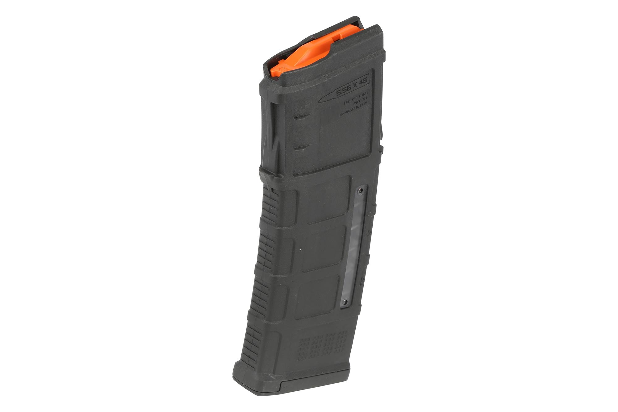 The Magpul PMAG 30 AUS GEN M3 window Steyr AUG 5.56 magazine features a bright orange follower