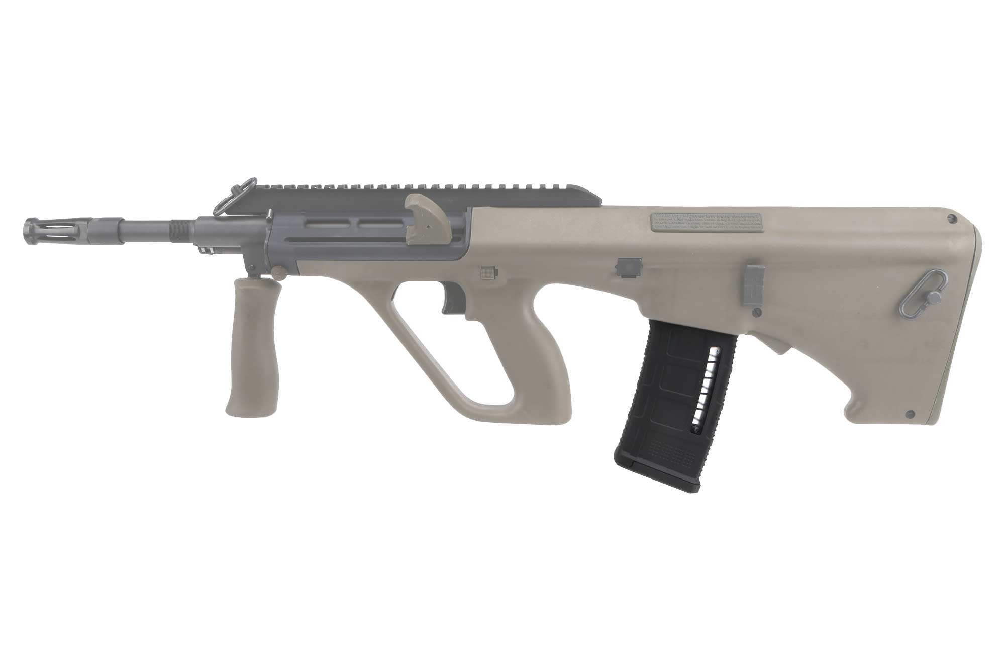 The Steyr AUG PMAG 30 Windowed features a paint pen dot matrix for identification