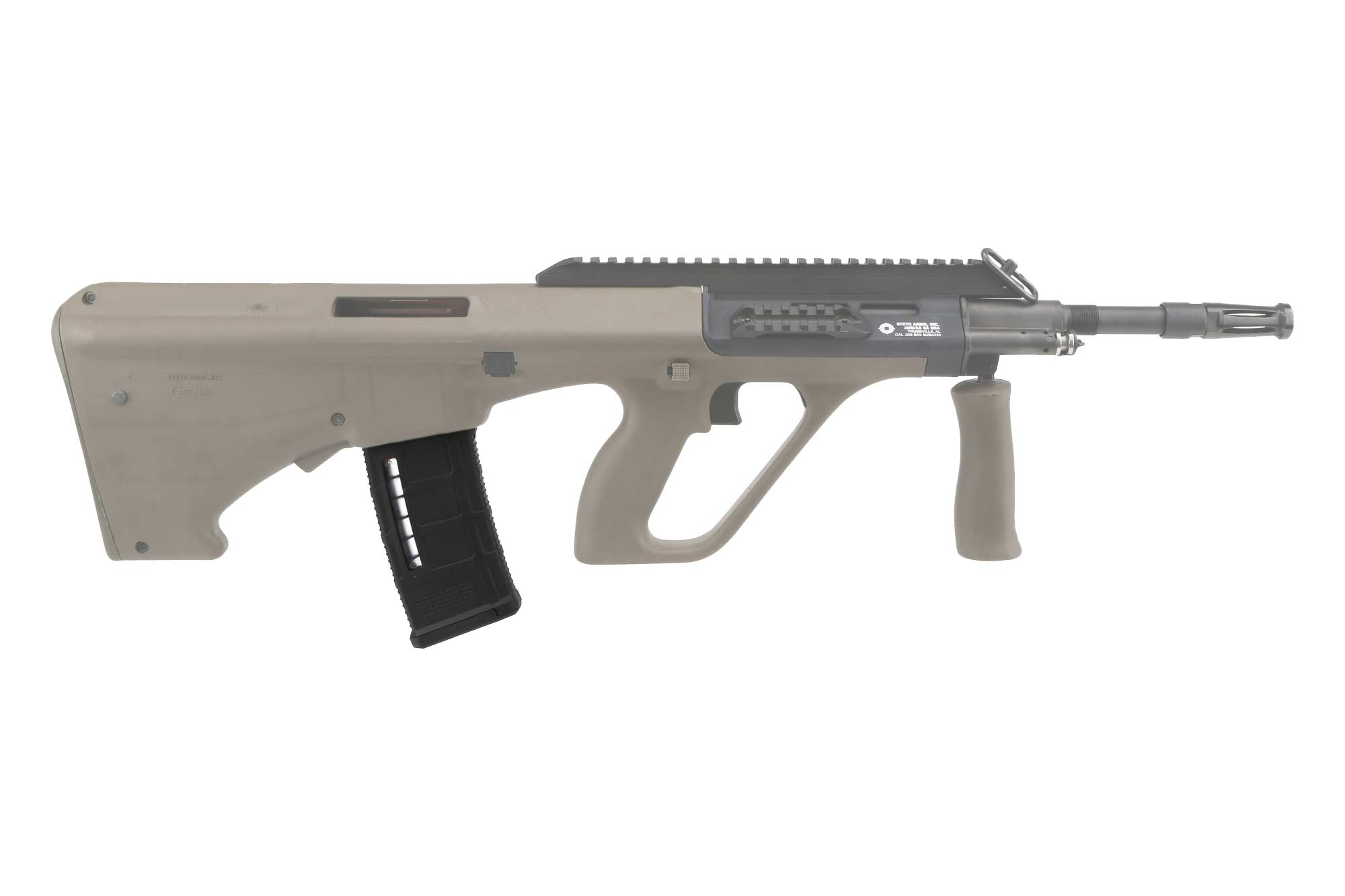 The PMAG Steyr AUG magazine features front and rear over insertion tabs