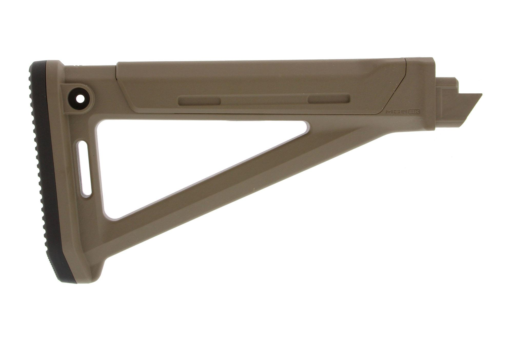 The Magpul MOE AK Stock fixed is made from a durable flat dark earth polymer