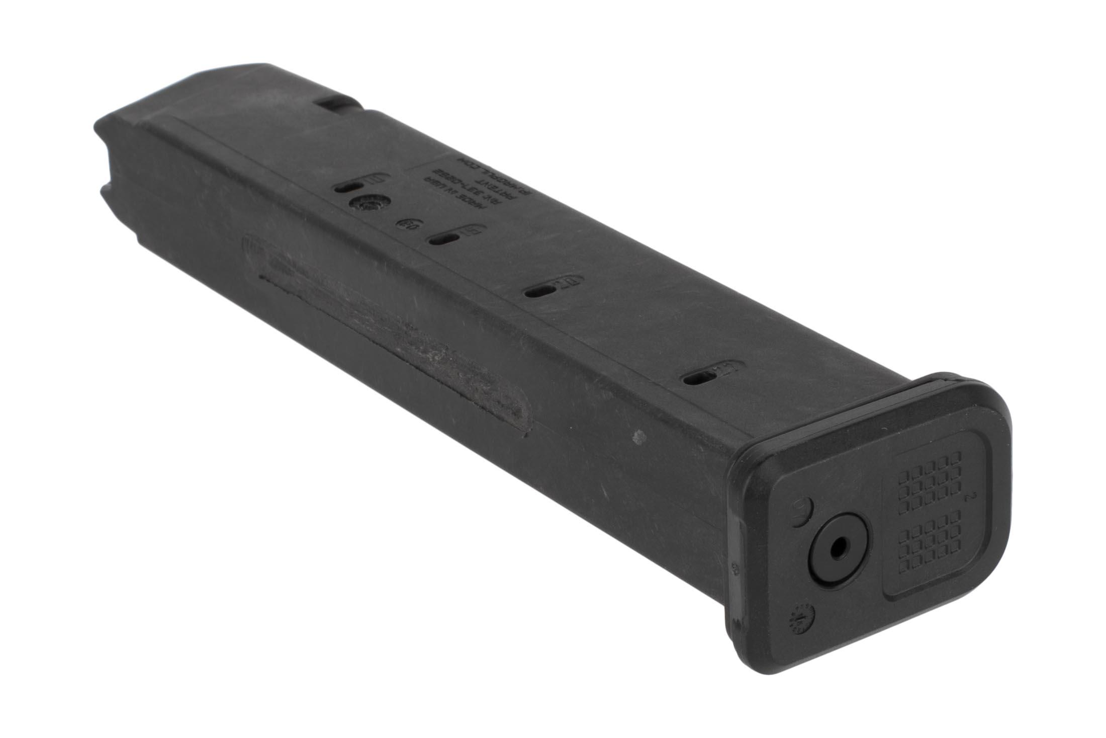 The Magpul PMAG 27 round 9mm magazine has a paint pen dot matrix floor plate for identification