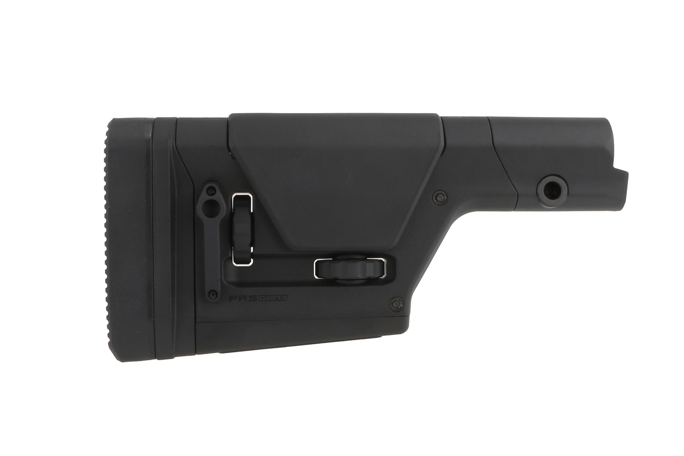 The Magpul PRS Gen 3 precision rifle stock features tool-less length of pull and cheek rest adjustability
