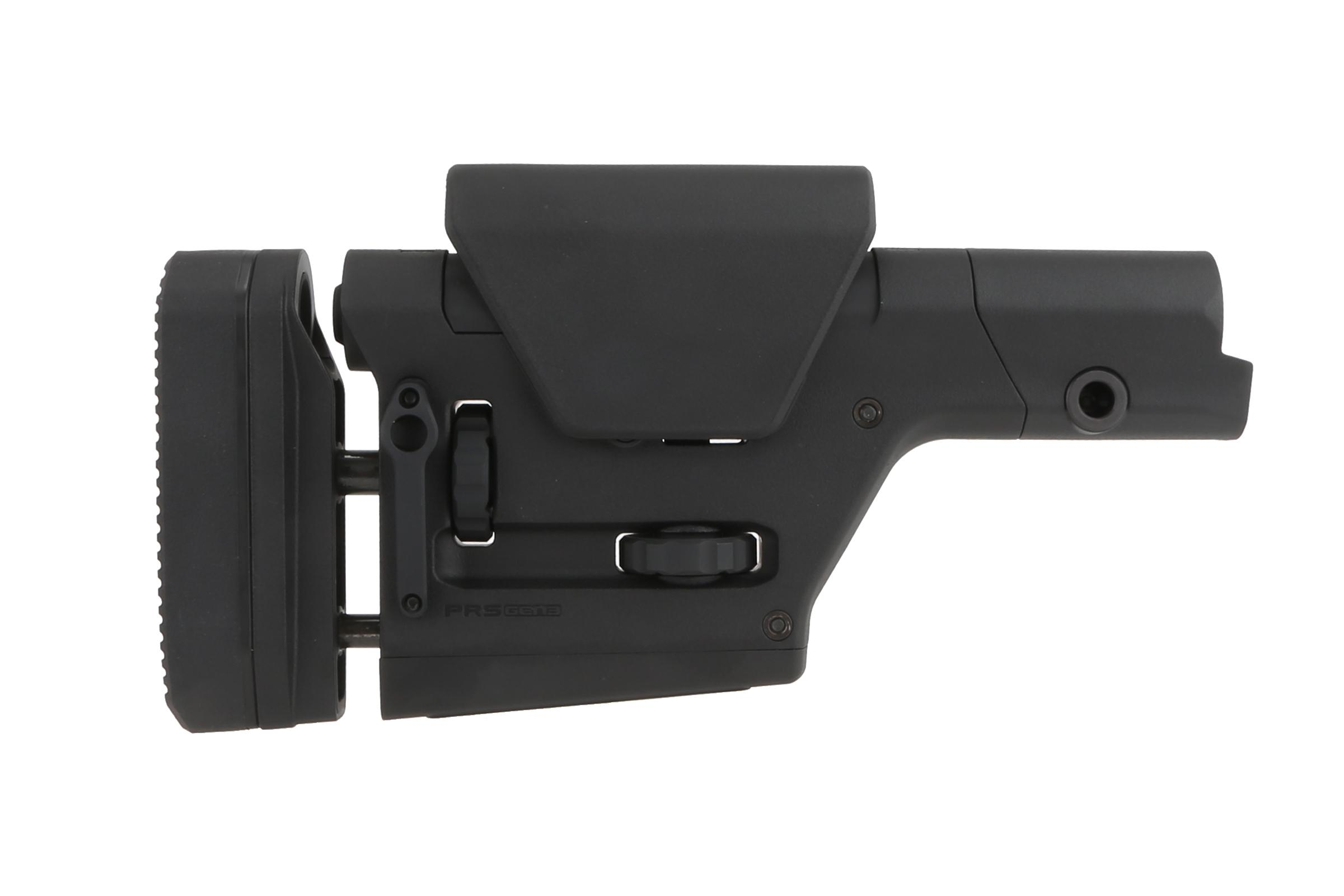 The Magpul PRS stock Gen 3 is optimized fro rifle length buffer tubes and can be used on AR15 or AR10 style rifles