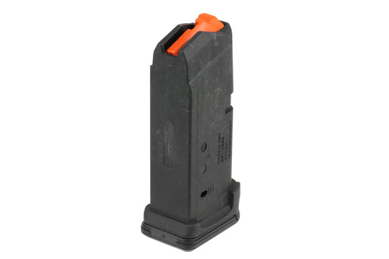 The Magpul Glock G26 PMAG 9x19 magazine has a flared easy to remove base plate