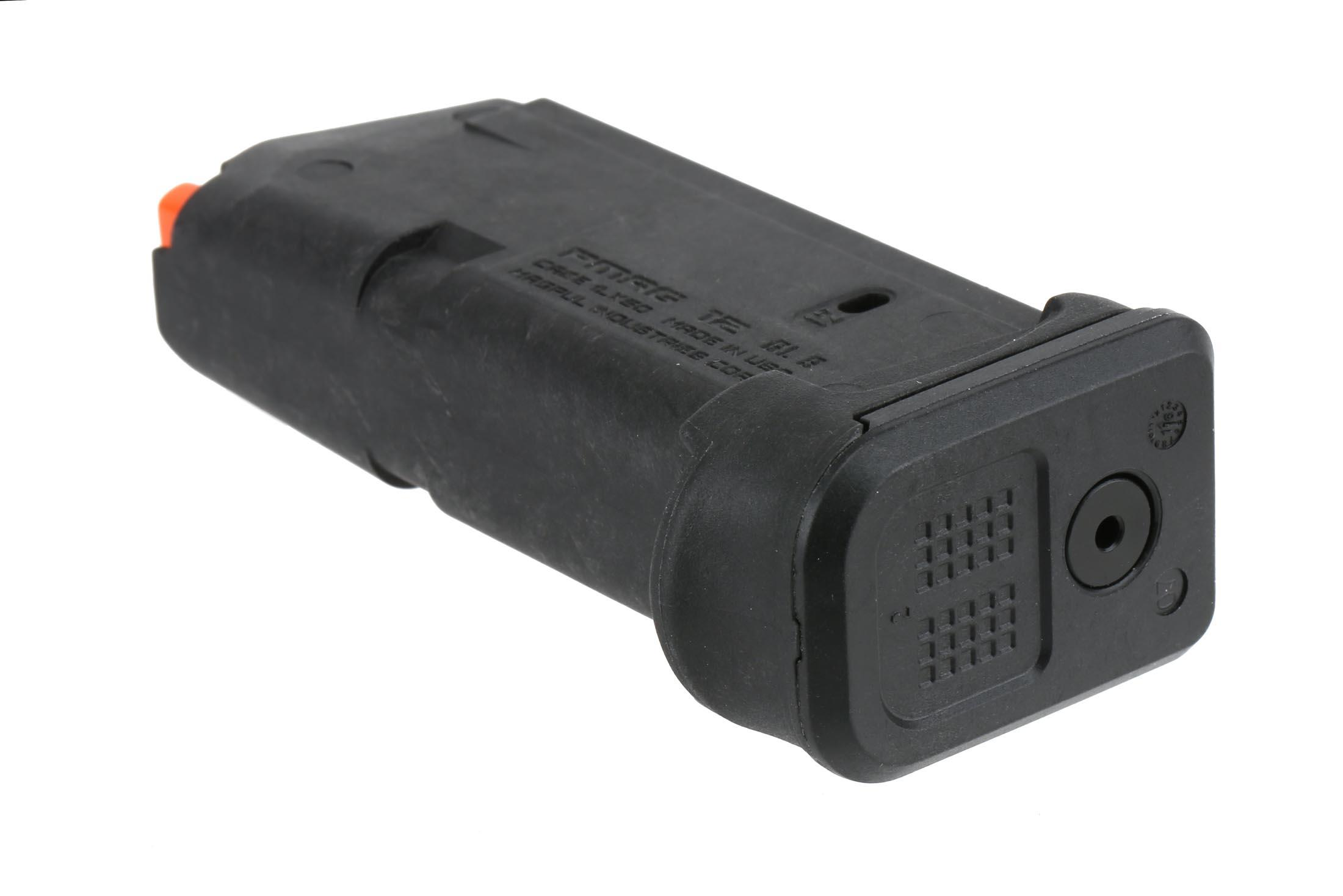 The Magpul Industries G26 12 round magazine has a paint pen dot matrix on the floor plate