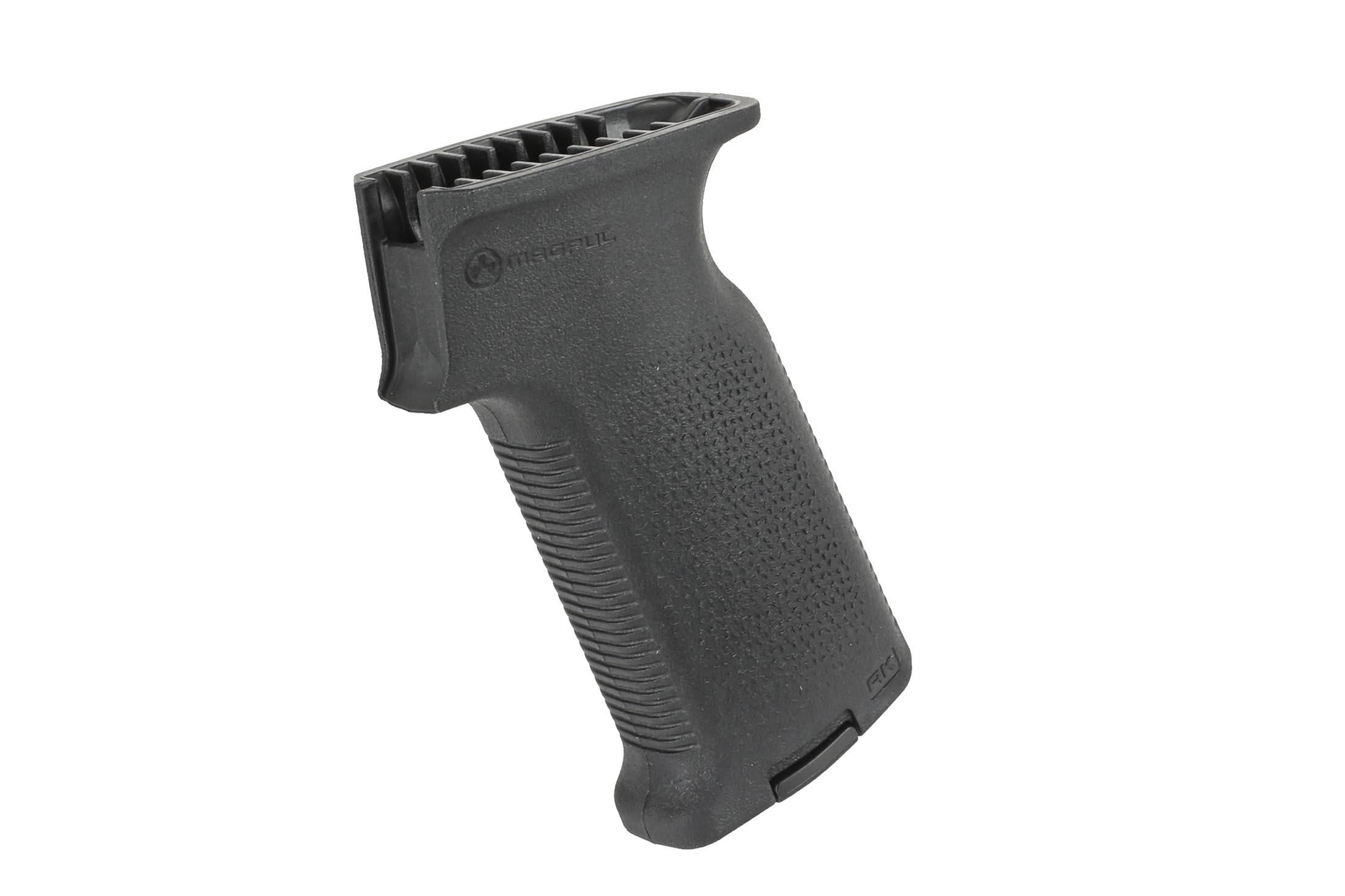 The MOE K2 AK pistol grip is compatible with Magpul storage cores