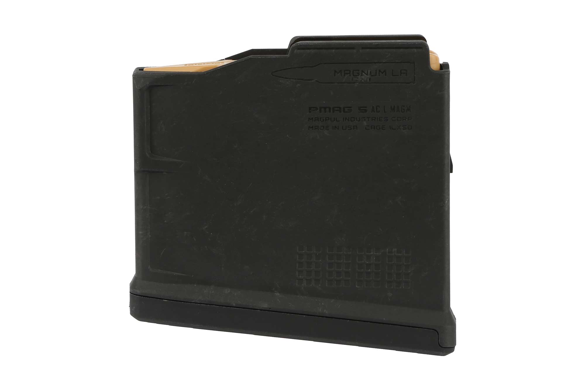 The Magpul PMAG AICS magazine holds 5 rounds of .300 winchester magnum ammunition