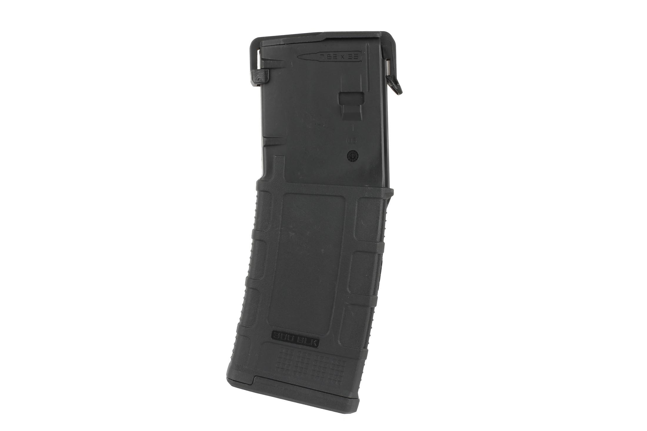 The Magpul PMAG 30 AR300B GEN M3 300 AAC Blackout Magazine has a durable black polymer design to protect it from impacts