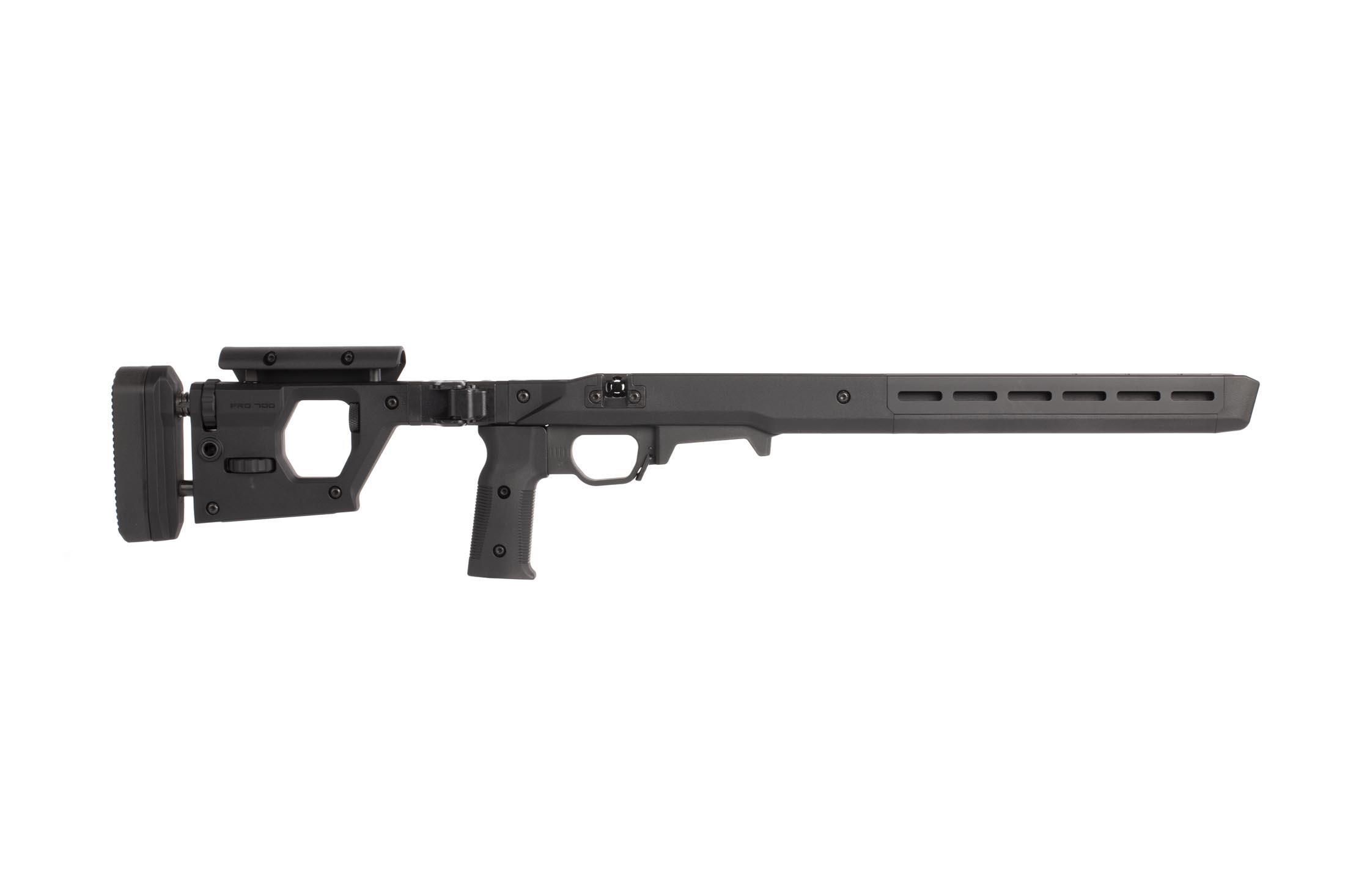 Magpul black PRO 700 rifle chassis features adjustable comb and length of pull on the folding stock.