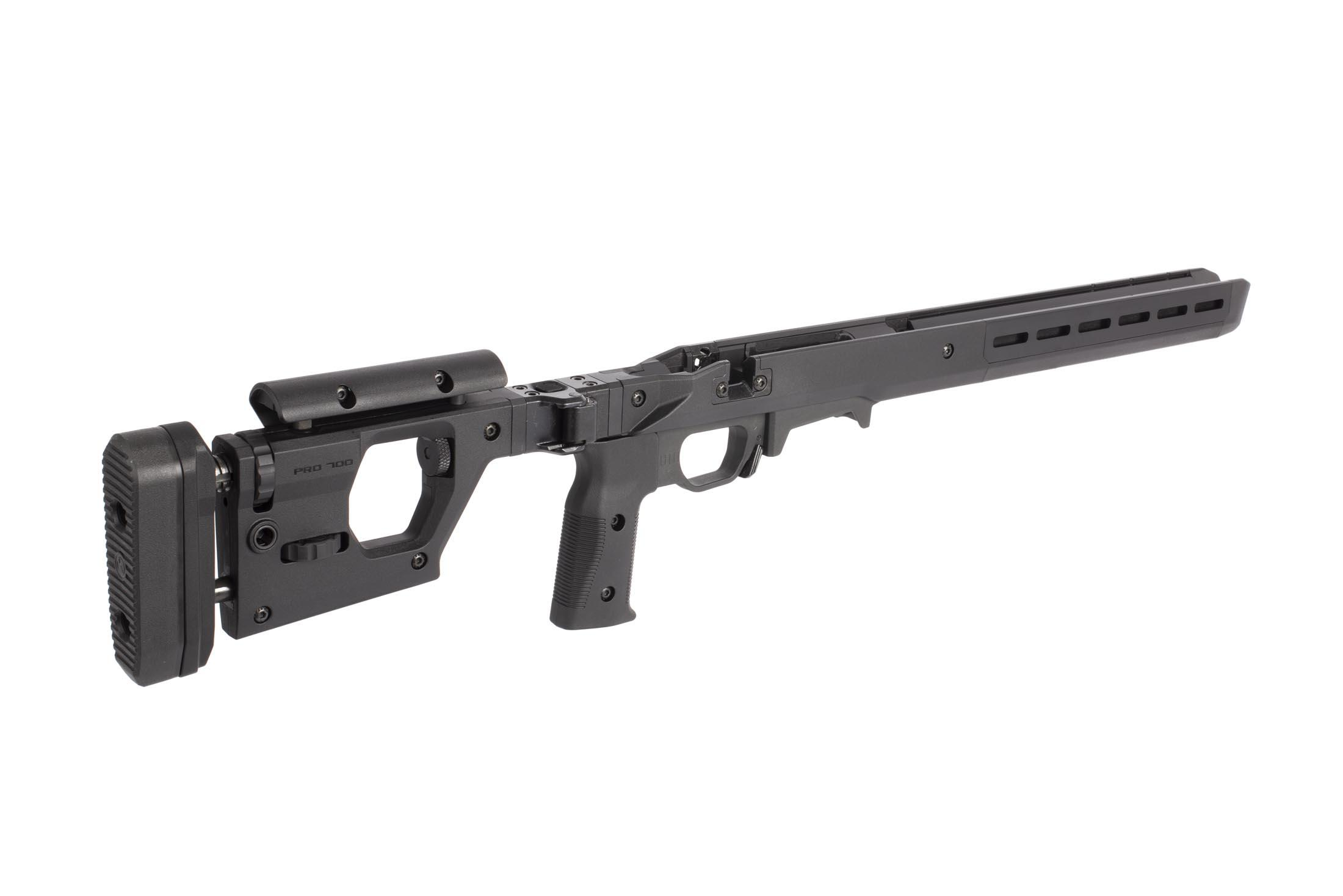 Magpul Pro 700 short action rifle chassis has an adjustable vertical pistol pistol grip and can be configured left or right