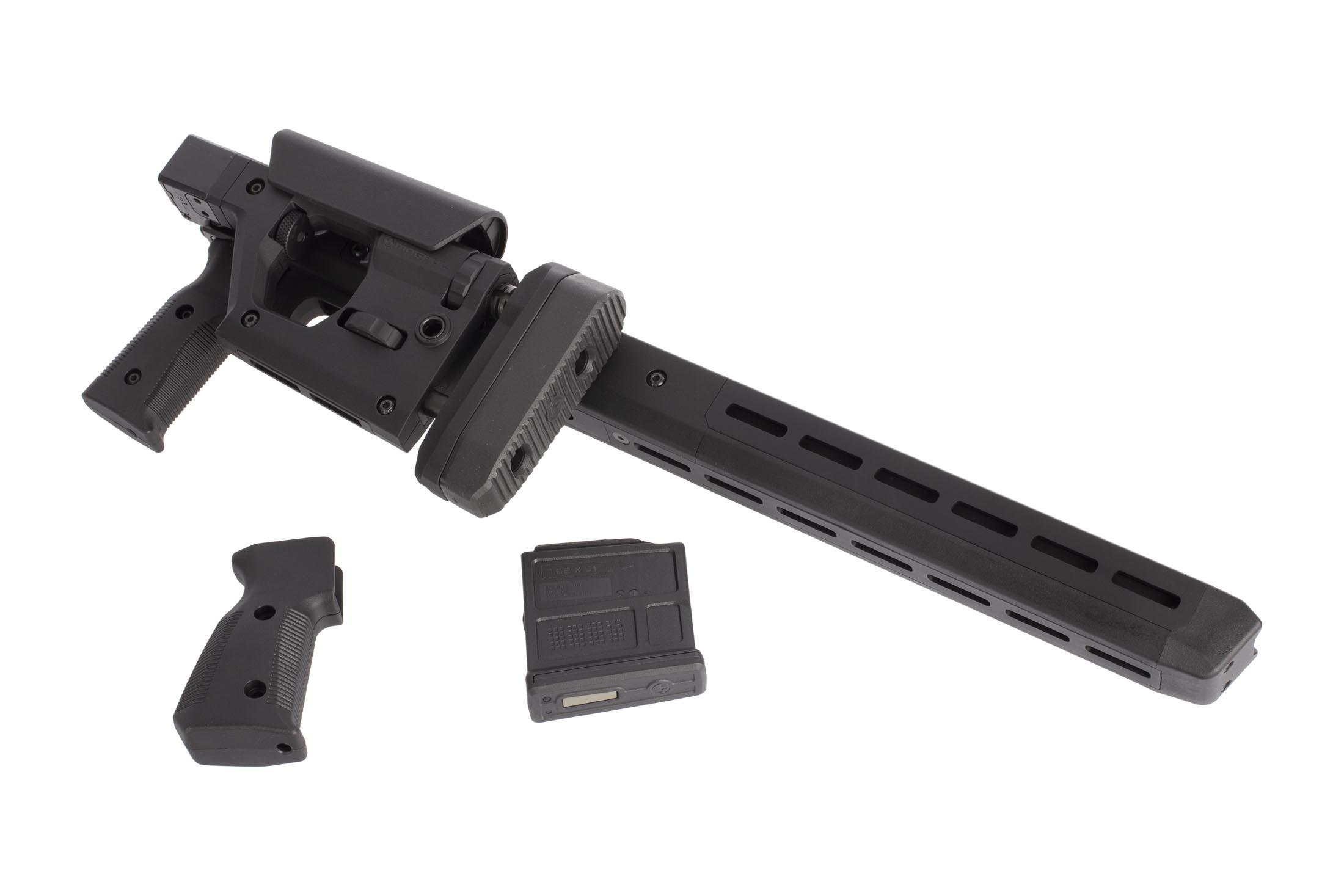 Magpul Pro 700 Remington 700 short action rifle chassis is M-LOK compatible, includes an alternate grip, and a 5 round AICS mag.