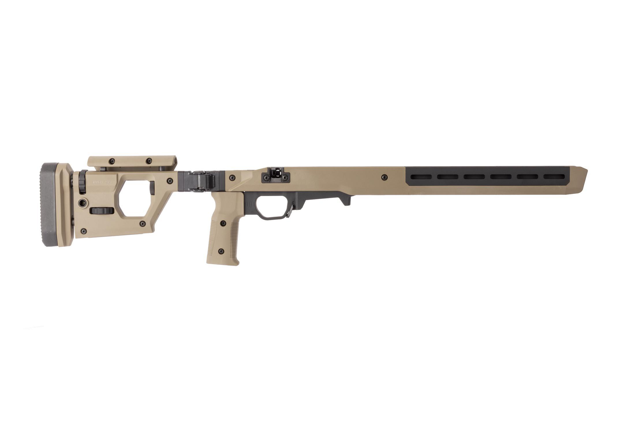 Magpul flat dark earth PRO 700 rifle chassis features adjustable comb and length of pull on the folding stock.