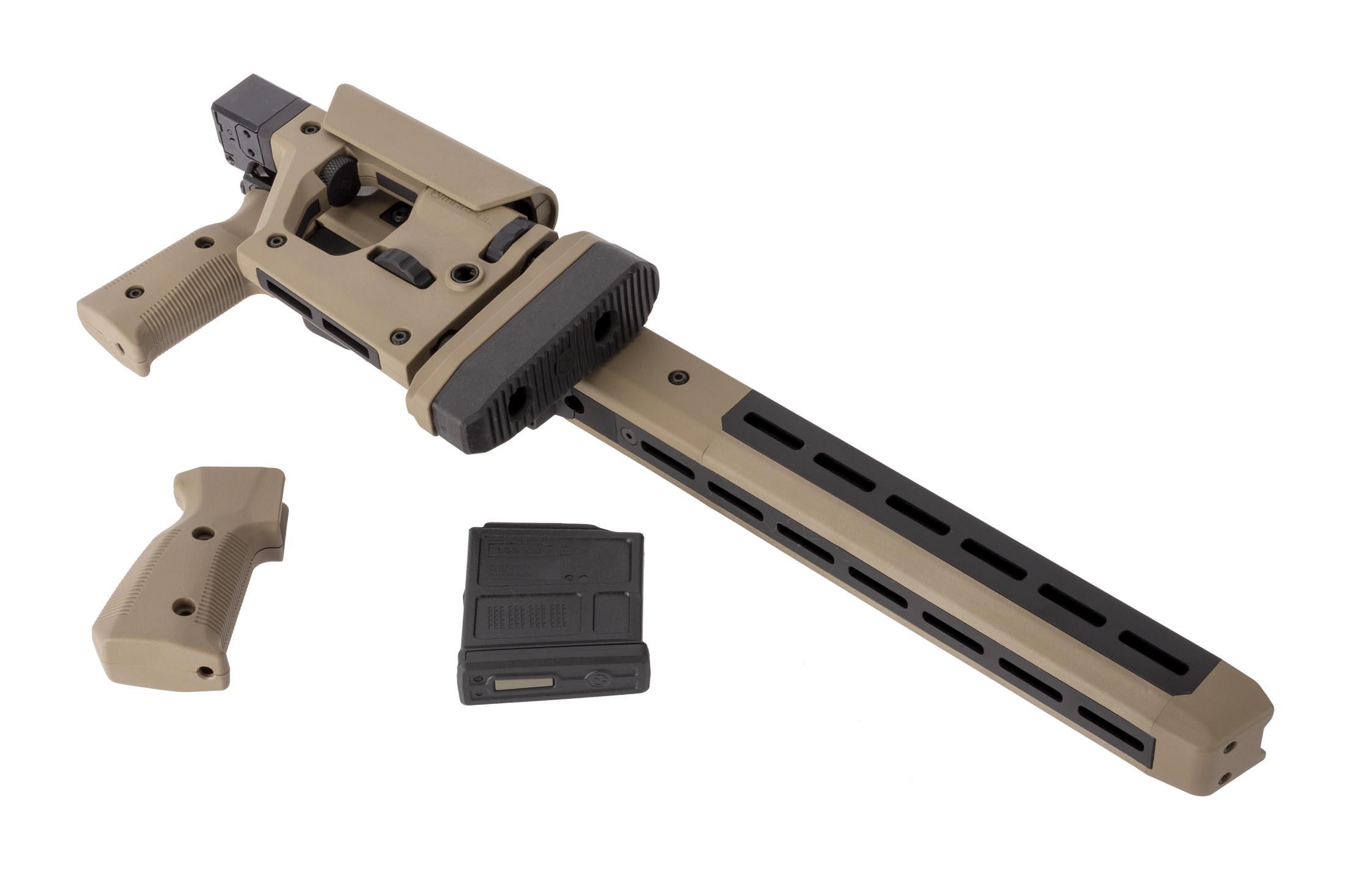 Magpul FDE Pro 700 Remington 700 short action rifle chassis is M-LOK compatible, includes an alternate grip, and a 5 round AICS mag.