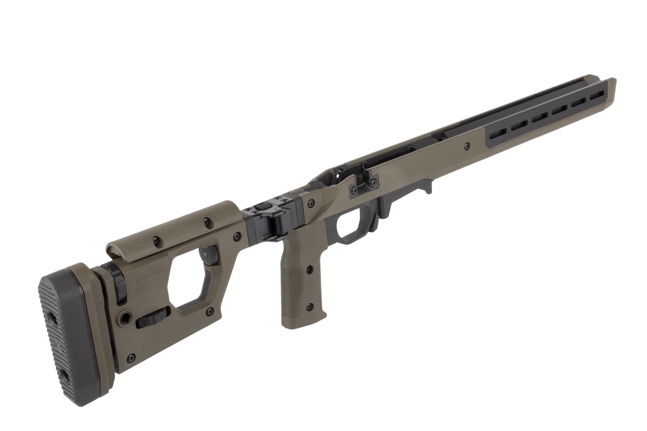 Magpul Pro 700 short action rifle chassis in ODG has an adjustable vertical pistol pistol grip and can be configured left or right