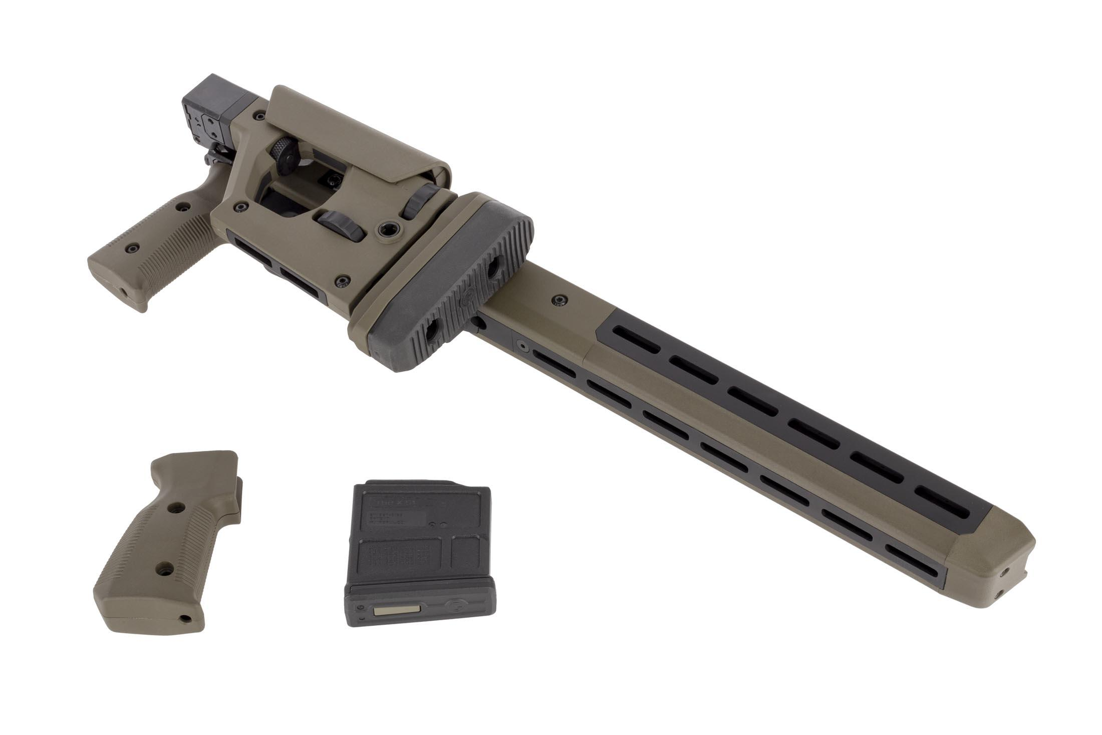 Magpul Pro 700 ODG Remington 700 short action rifle chassis is M-LOK compatible, includes an alternate grip, and a 5 round AICS mag.
