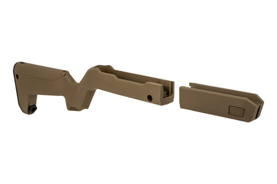 Magpul X22 Backpacker stock FDE can be taken down into two halves for storage