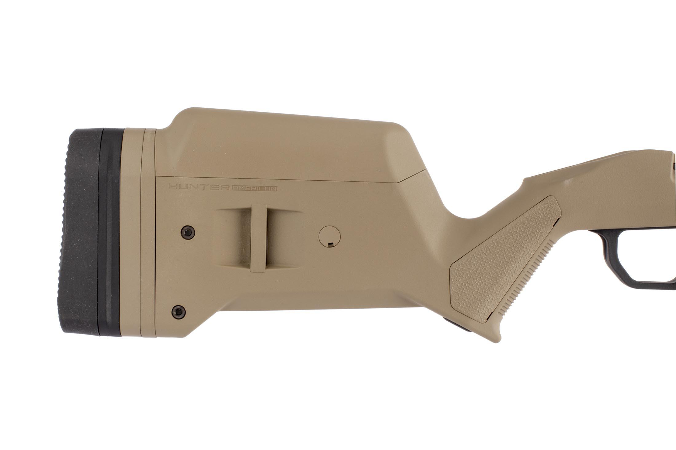 Magpul Hunter short action stocks in fde for the Ruger American uses a spacer system for optimal length of pull and comb height