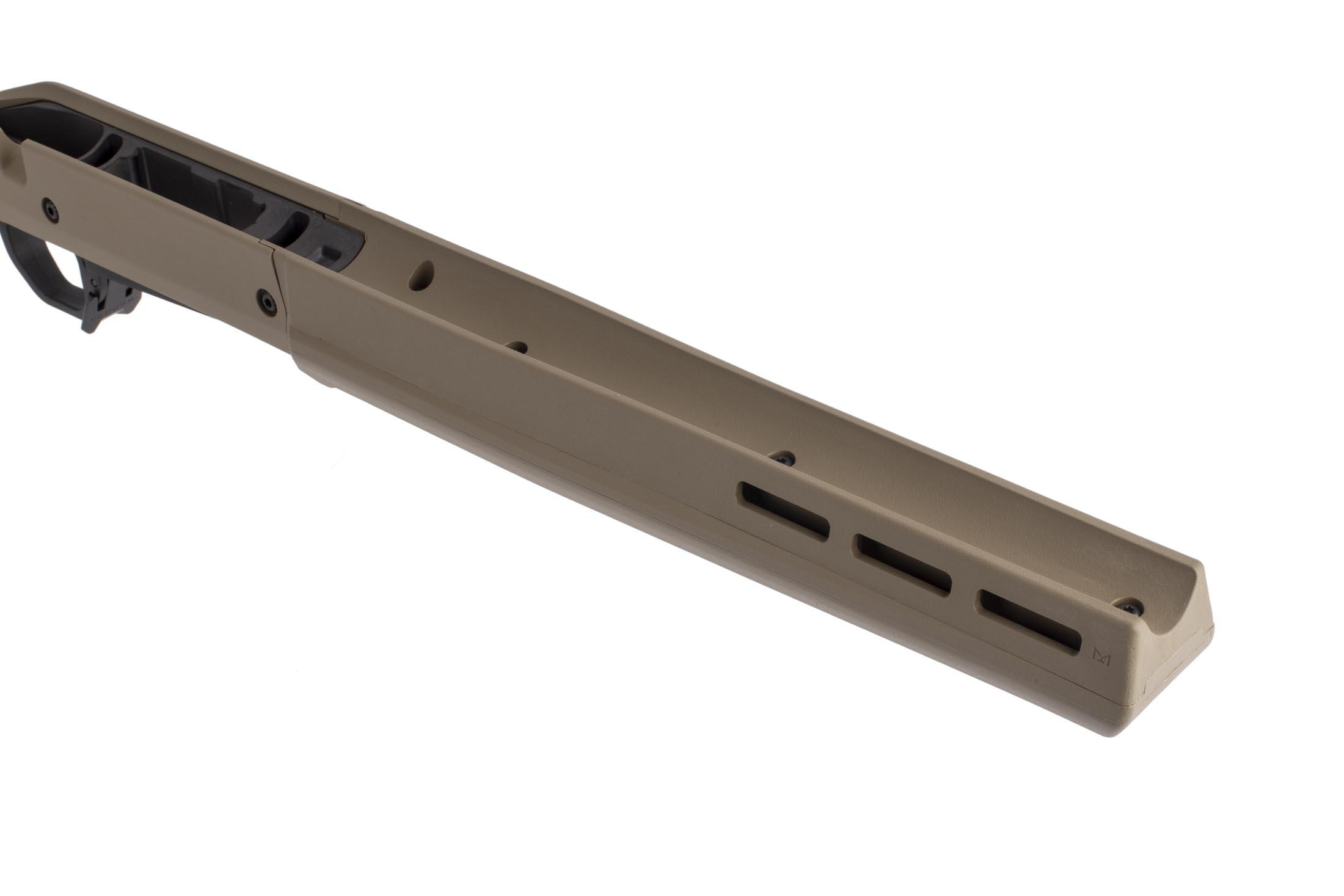 Magpul Hunter stock in flat dark earth for short action Ruger American uses a comfortable wide forend with M-LOK slots