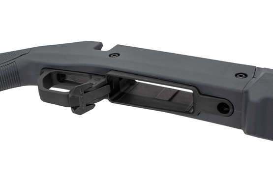 The Ruger American Magpul Hunter chassis features an ambidextrous mag release on the bottom metal