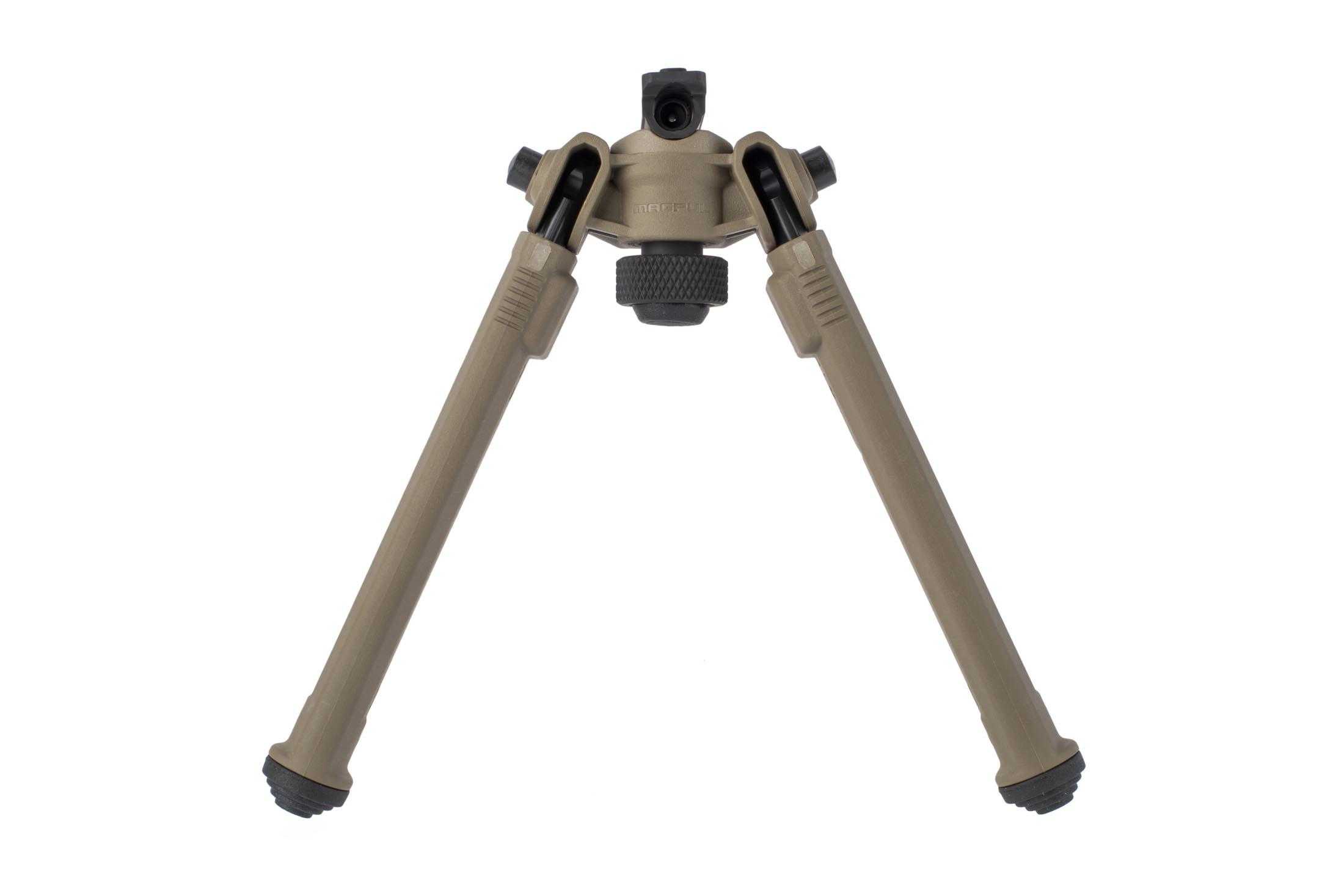 Magpul black M-LOK bipods have adjustable pan and tilt with adjustable length legs with stepped polymer feet for stability