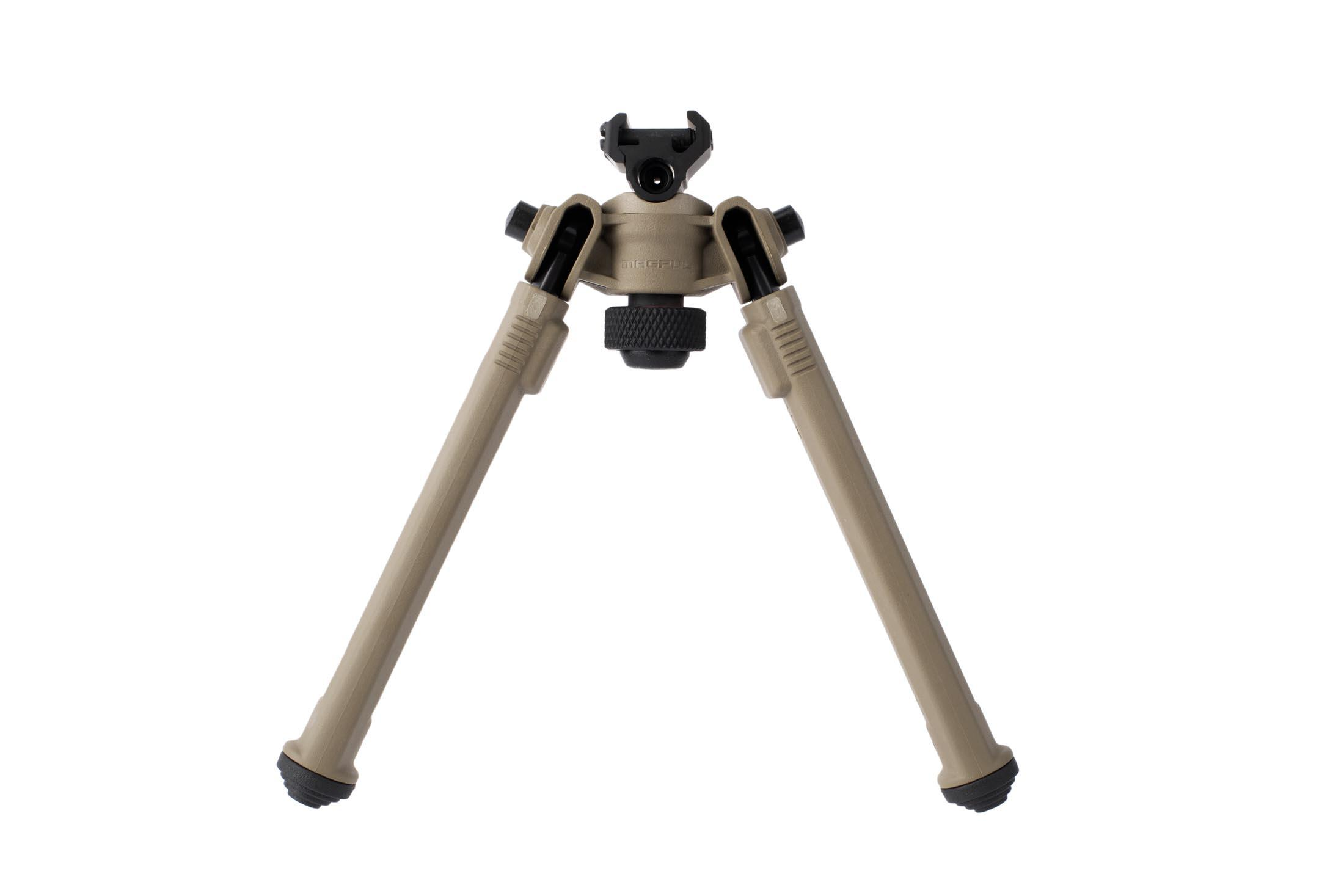 Magpul flat dark earth M1913 bipods have adjustable pan and tilt with adjustable length legs with stepped polymer feet for stability