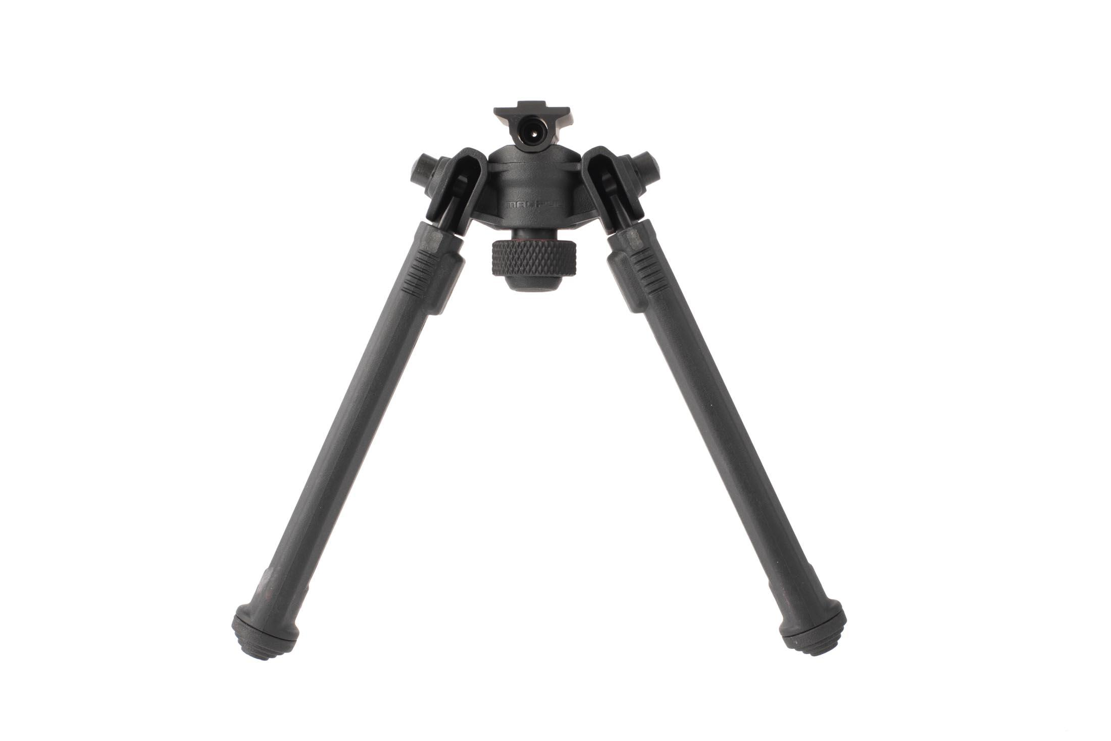Magpul black A.R.M.S. 17S compatible bipods have adjustable pan and tilt with adjustable length legs with stepped polymer feet for stability