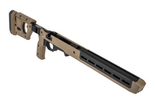 The Magpul Pro 700 FDE rifle chassis features the fixed stock configuration for short actions
