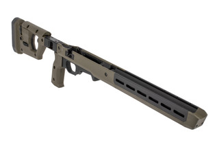 The Magpul Pro 700 chassis for short action R700 rifles features a fixed stock and OD Green finish