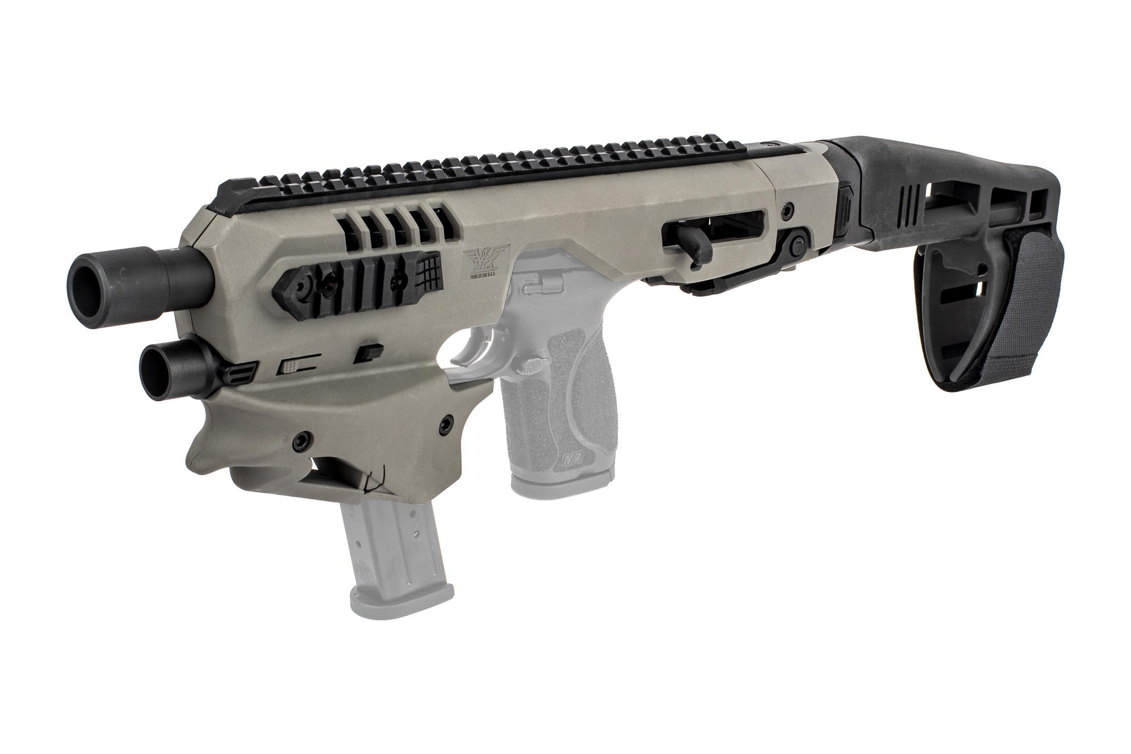 Command Arms S&W M&P-compatible conversion kit is highly ergonomic with a spare magazine holder built in, now in gray
