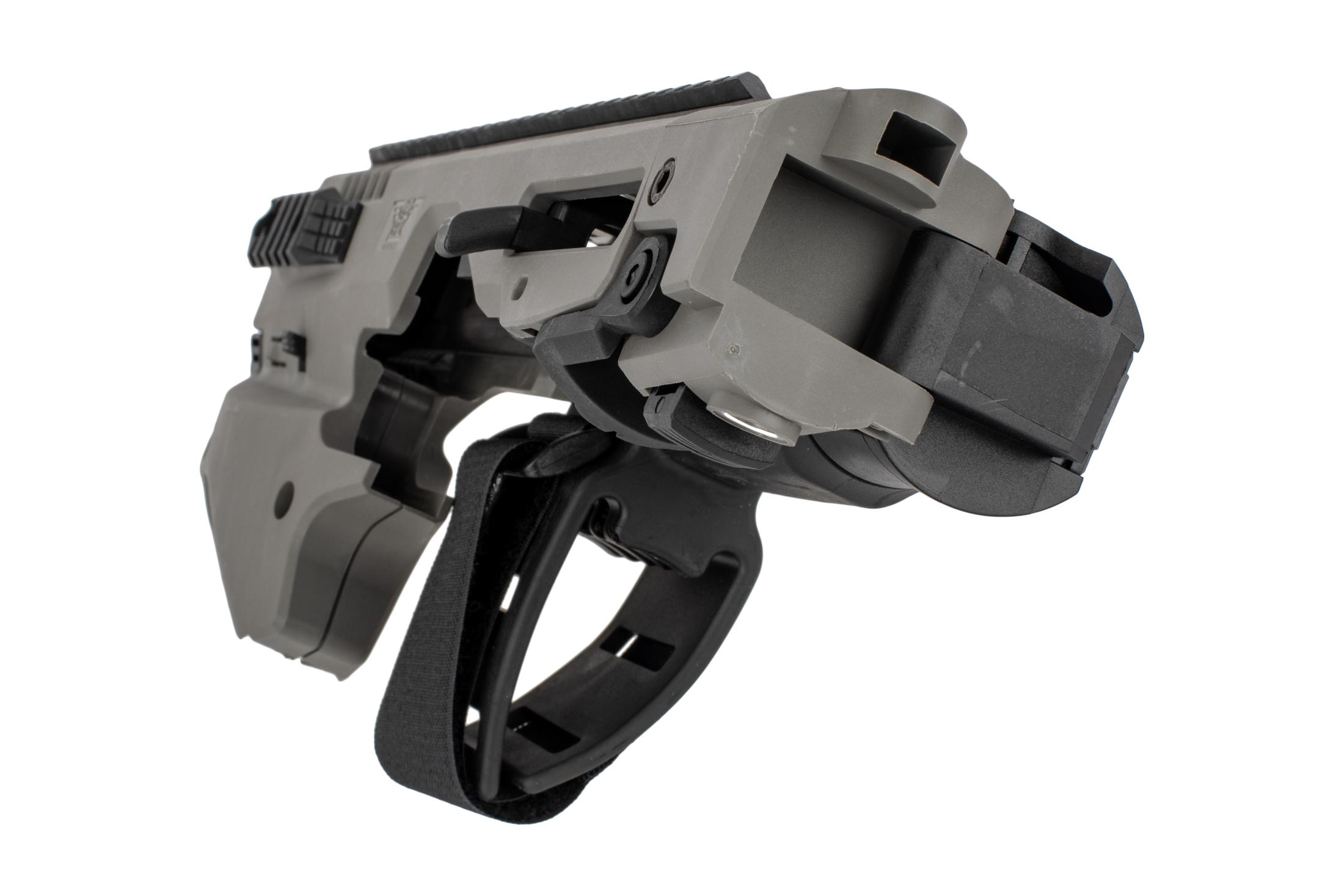 Command Arms Micro Conversion Kit for S&W M&Ps offers a side folding long stabilizer in tungsten grey