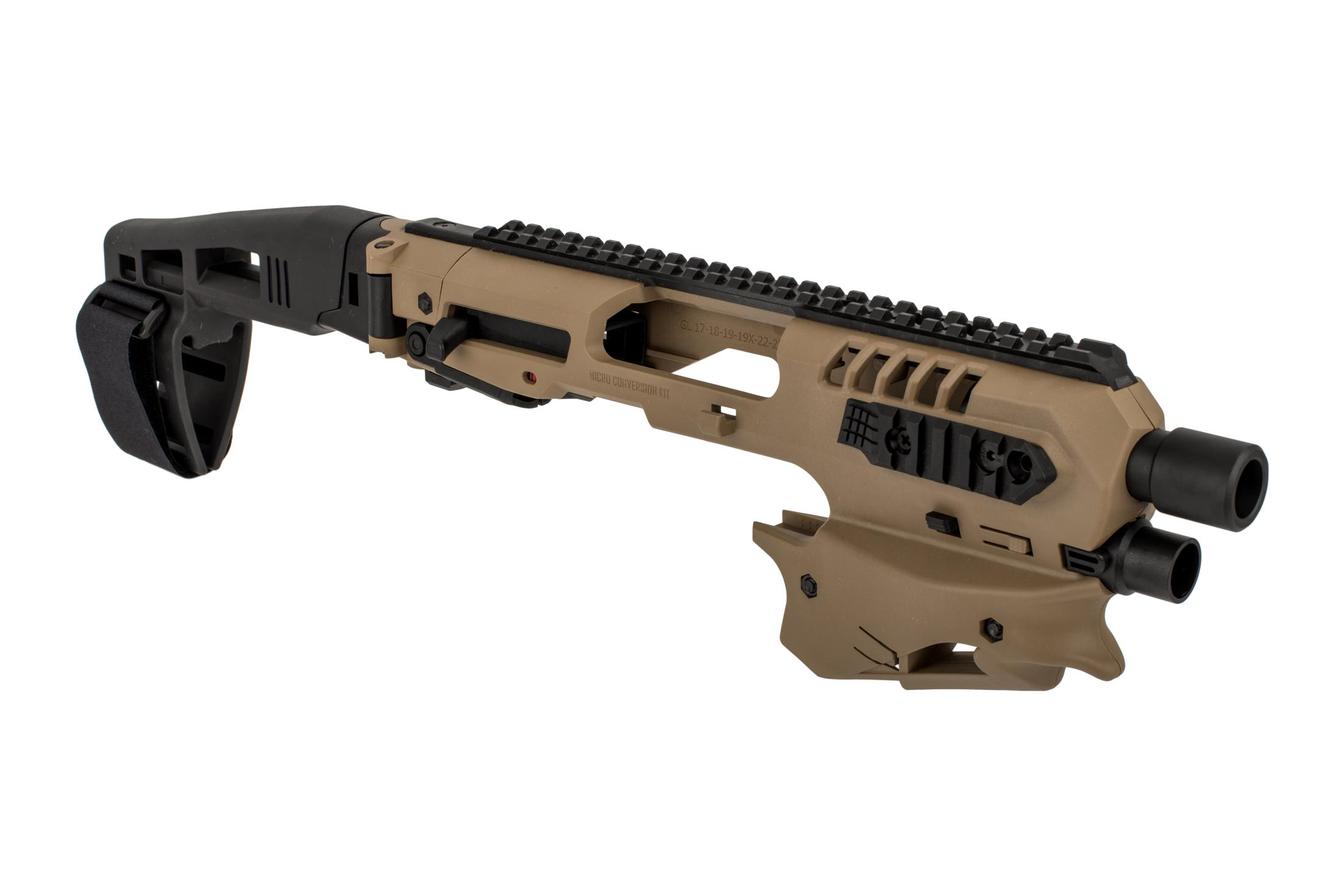 Command Arms Micro Conversion Kit for Glock handguns includes a long stabilizer for enhanced comfort and accuracy in flat dark earth