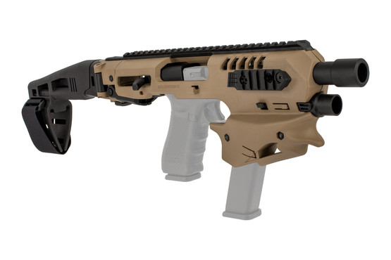 Command Arms MCK micro conversion kit fits most standard Gen 3 and Gen 4 Glock handguns with long stabilizer in FDE